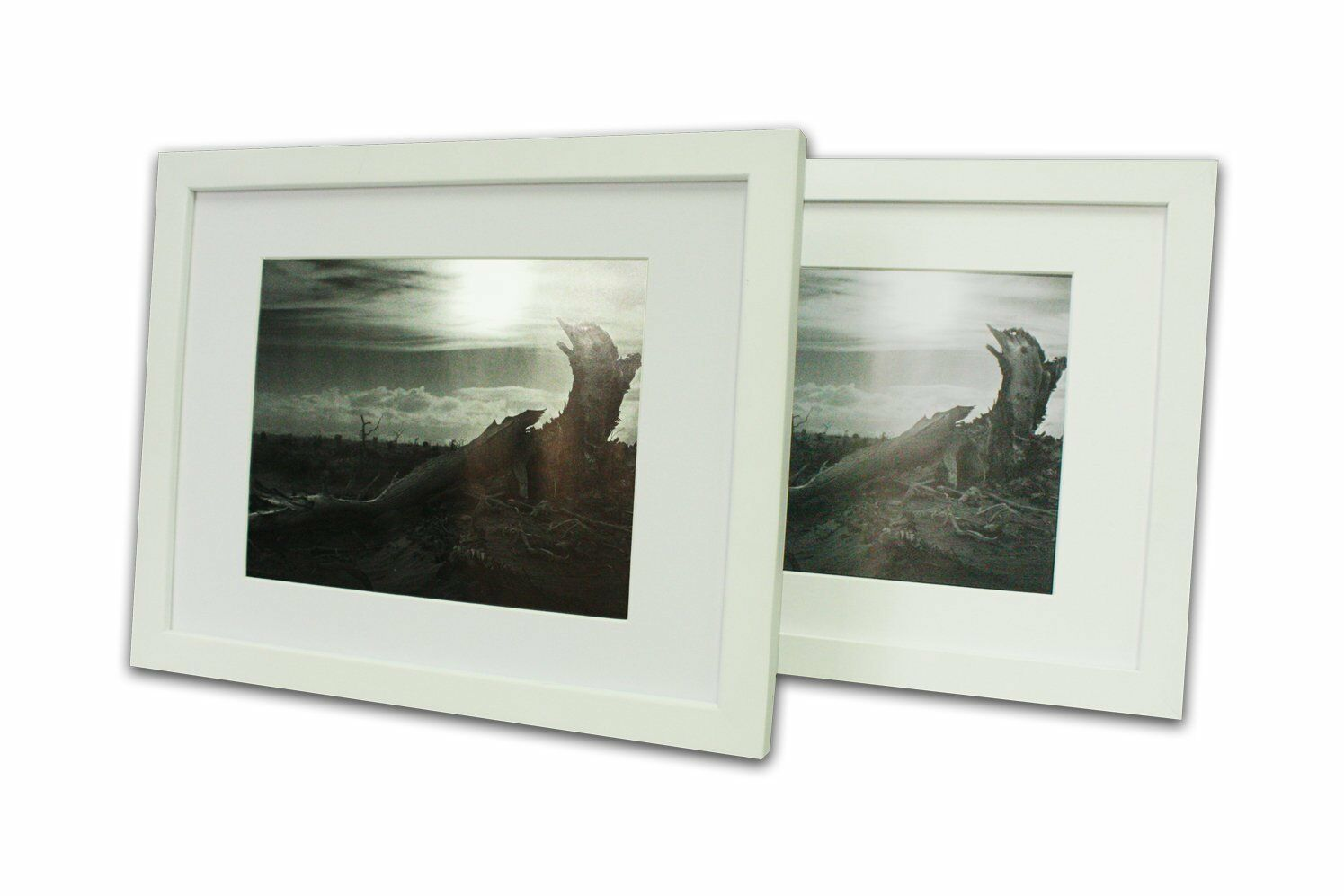 SET OF 2 White Photo Wood Frame 11x14 with Real GLASS Mat for 8x10 ...