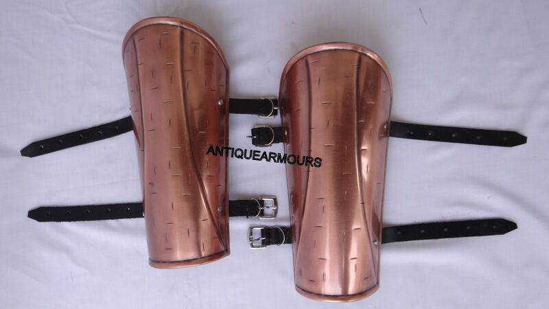 300 King Copper Antique Finish Arm Guard Set Greaves Roman Armoury Props
