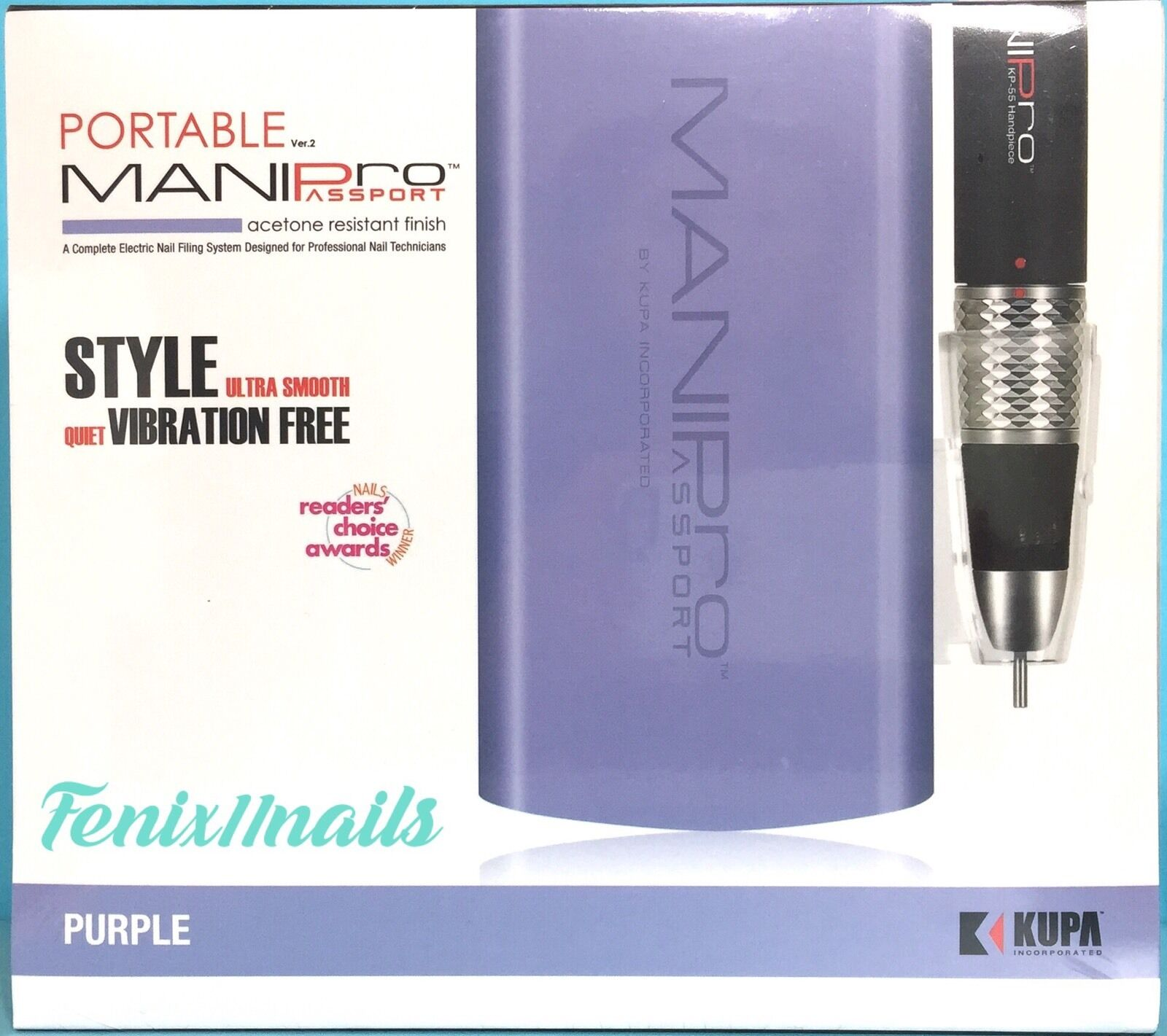 KUPA MANI PRO PASSPORT E-FILING SET Nail Drill Hand Piece & PURPLE ...