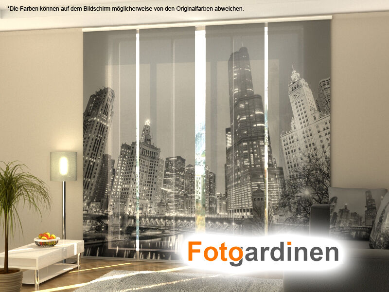 fotogardinen grey city fl chenvorhang schiebegardinen mit motiv auf ma eur 15 00 picclick de. Black Bedroom Furniture Sets. Home Design Ideas