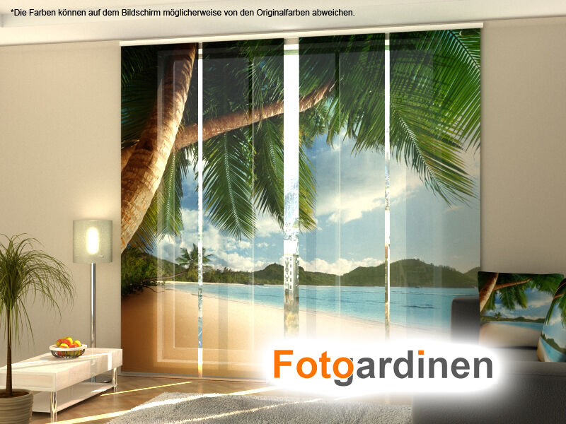 fotogardinen palme fl chenvorhang schiebegardinen mit motiv auf ma eur 15 00 picclick de. Black Bedroom Furniture Sets. Home Design Ideas