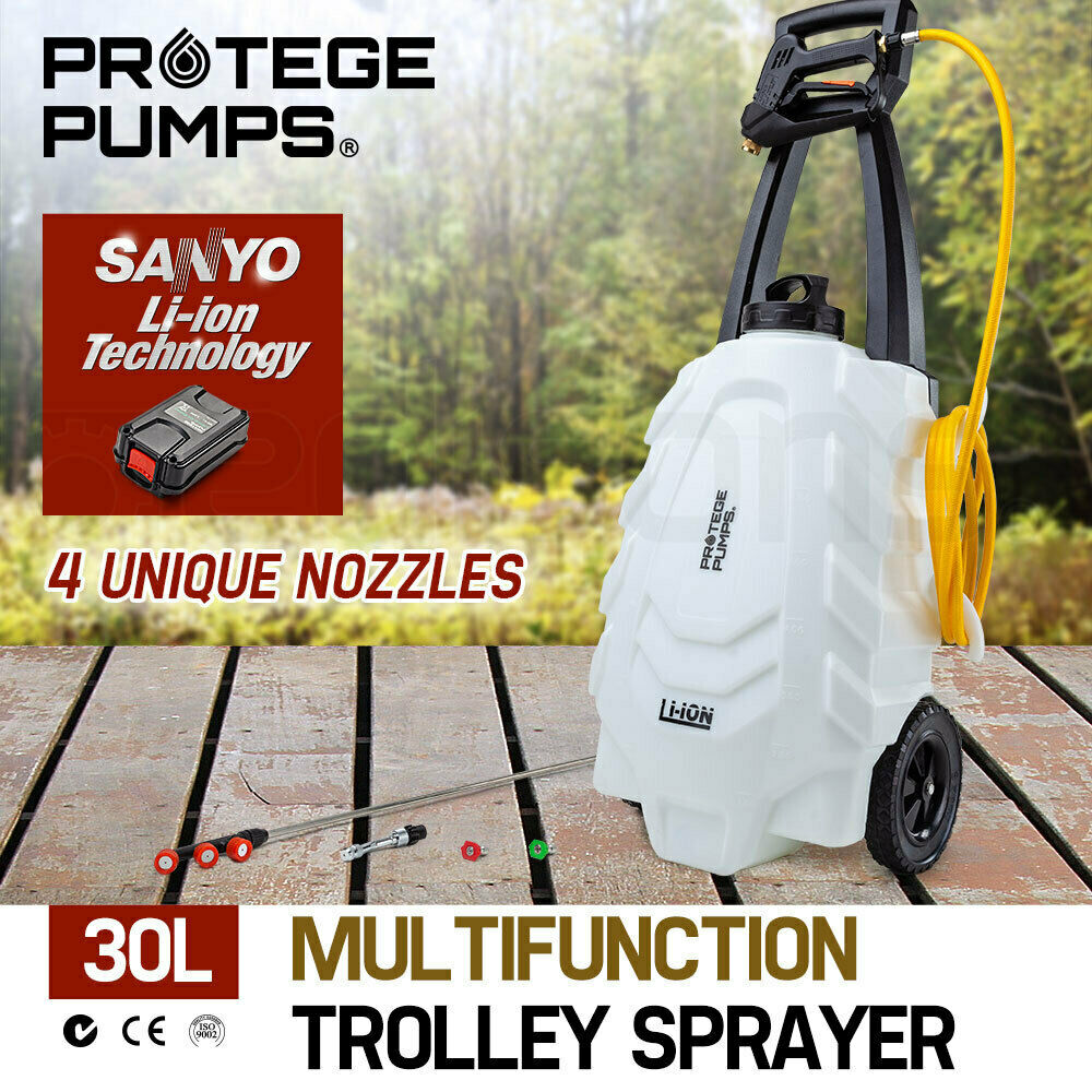 NEW PROTEGE 30L 18V Garden Weed Sprayer Electric Battery  Trolley Portable Spot