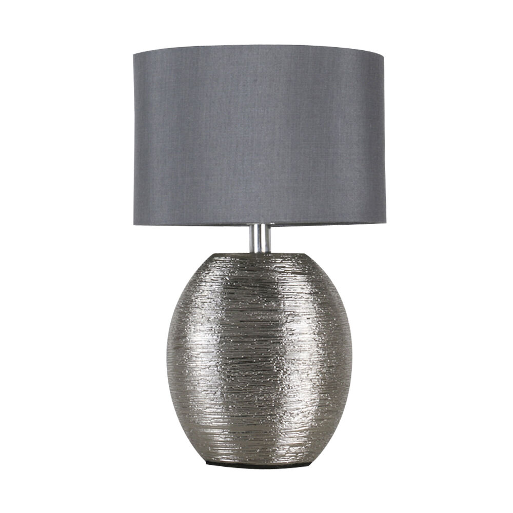 Contemporary textured chrome ceramic bedside table lamp for Modern bedside table lamps