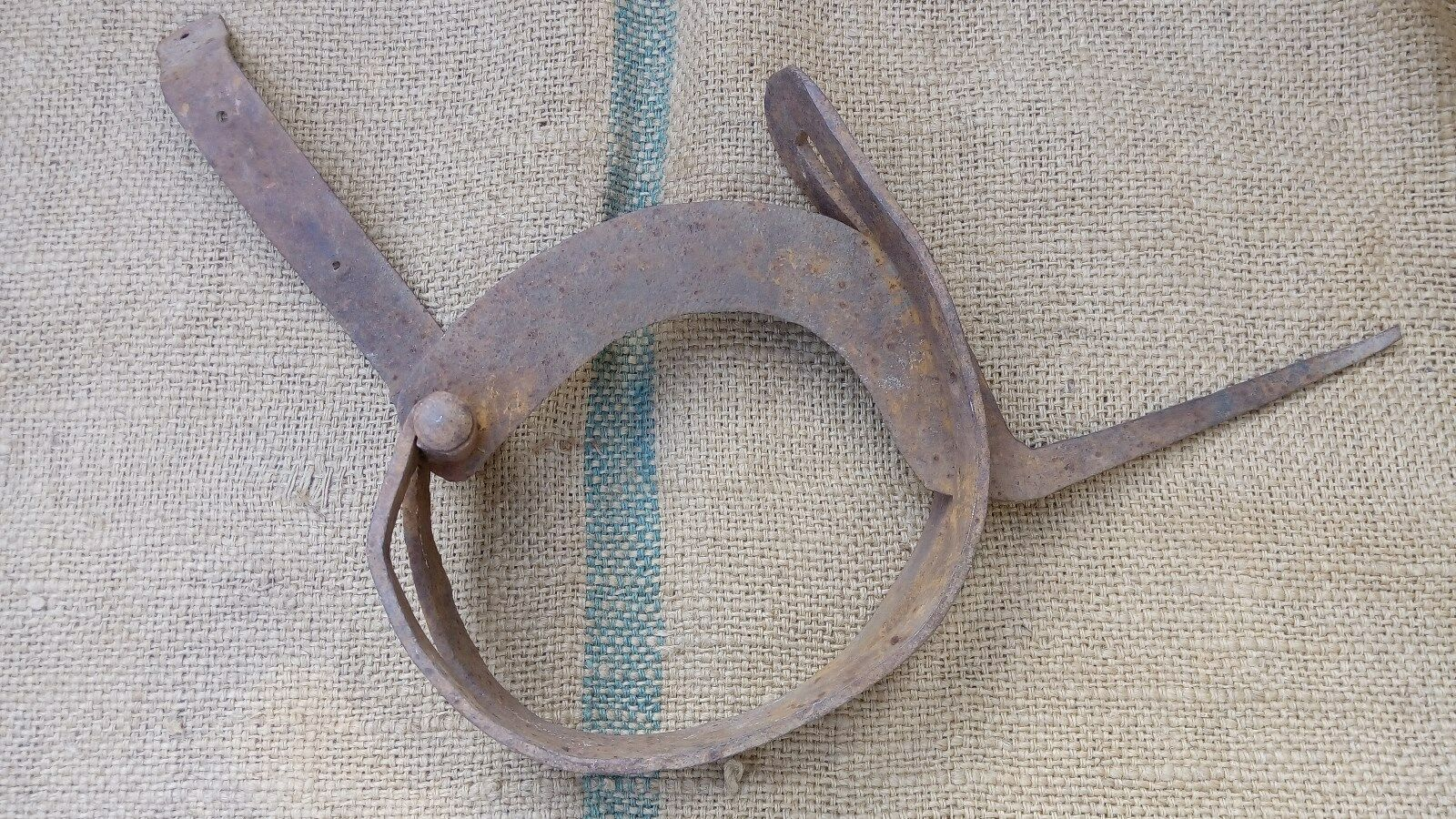 Antique Wrought Iron Straw Cutter Farm Tool 19Th Century