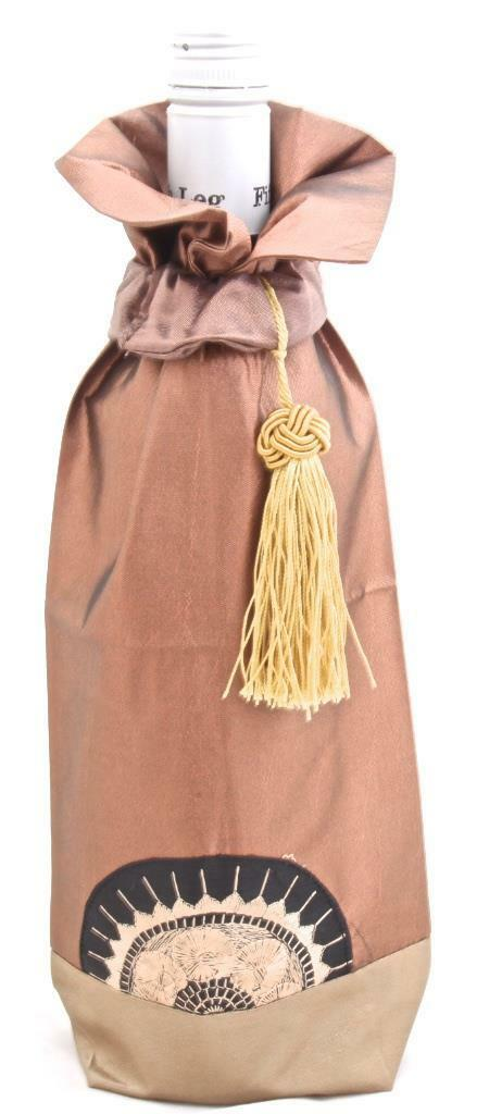 Gold Bronze Silk Wine Bottle Cover Holder Tassle Elegant Wine Gift Bag Sleeve