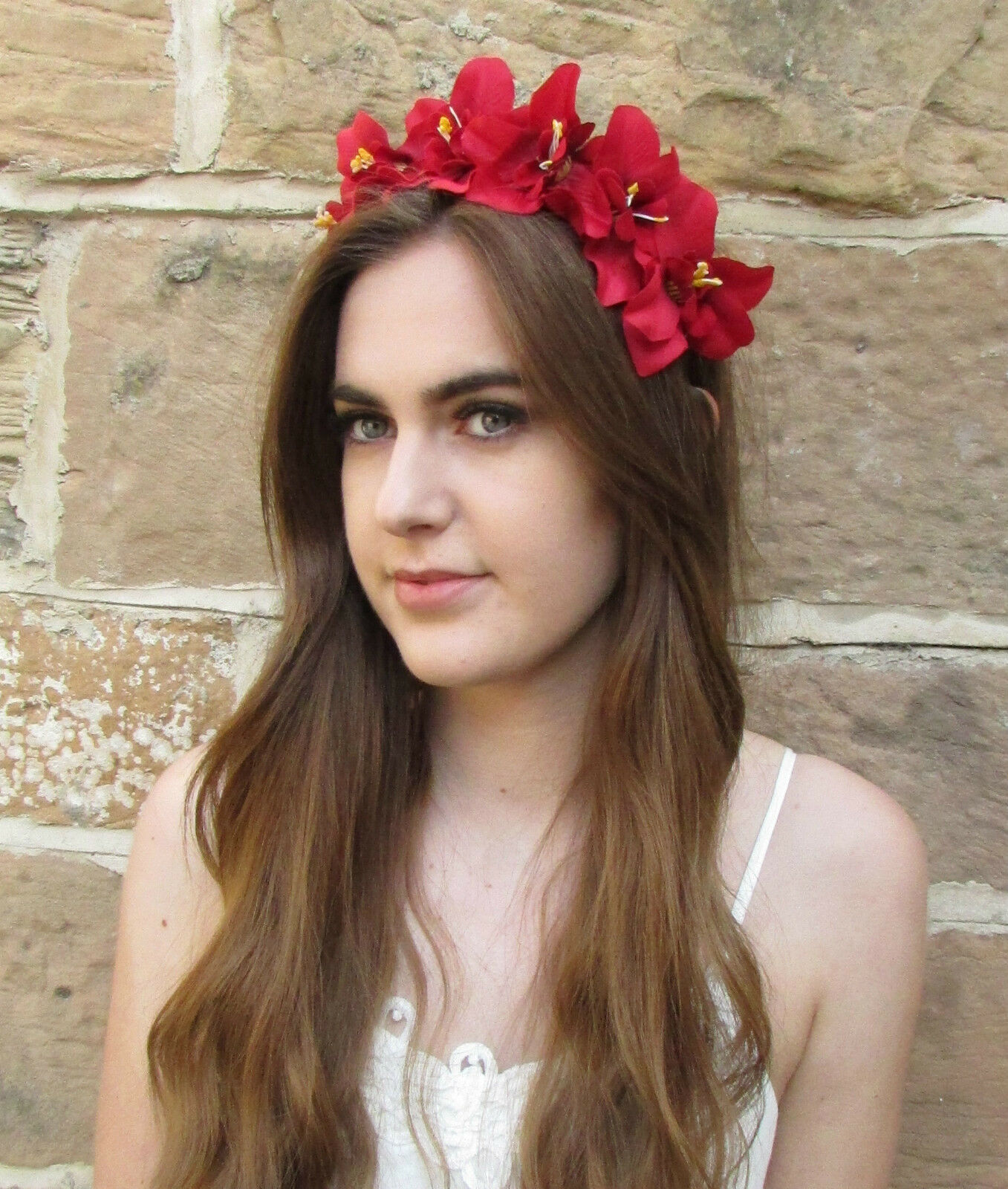 Red orchid flower headband hair crown headpiece festival floral boho red orchid flower headband hair crown headpiece festival floral boho vintage z98 izmirmasajfo