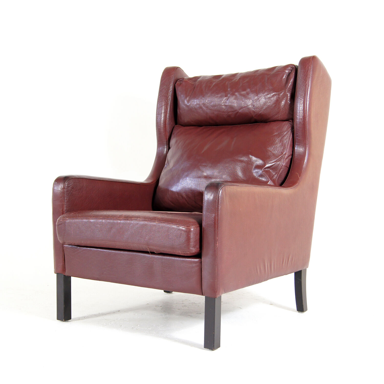 Retro Vintage Danish Modern Thams Leather Wing Back Lounge Armchair 60s 70s