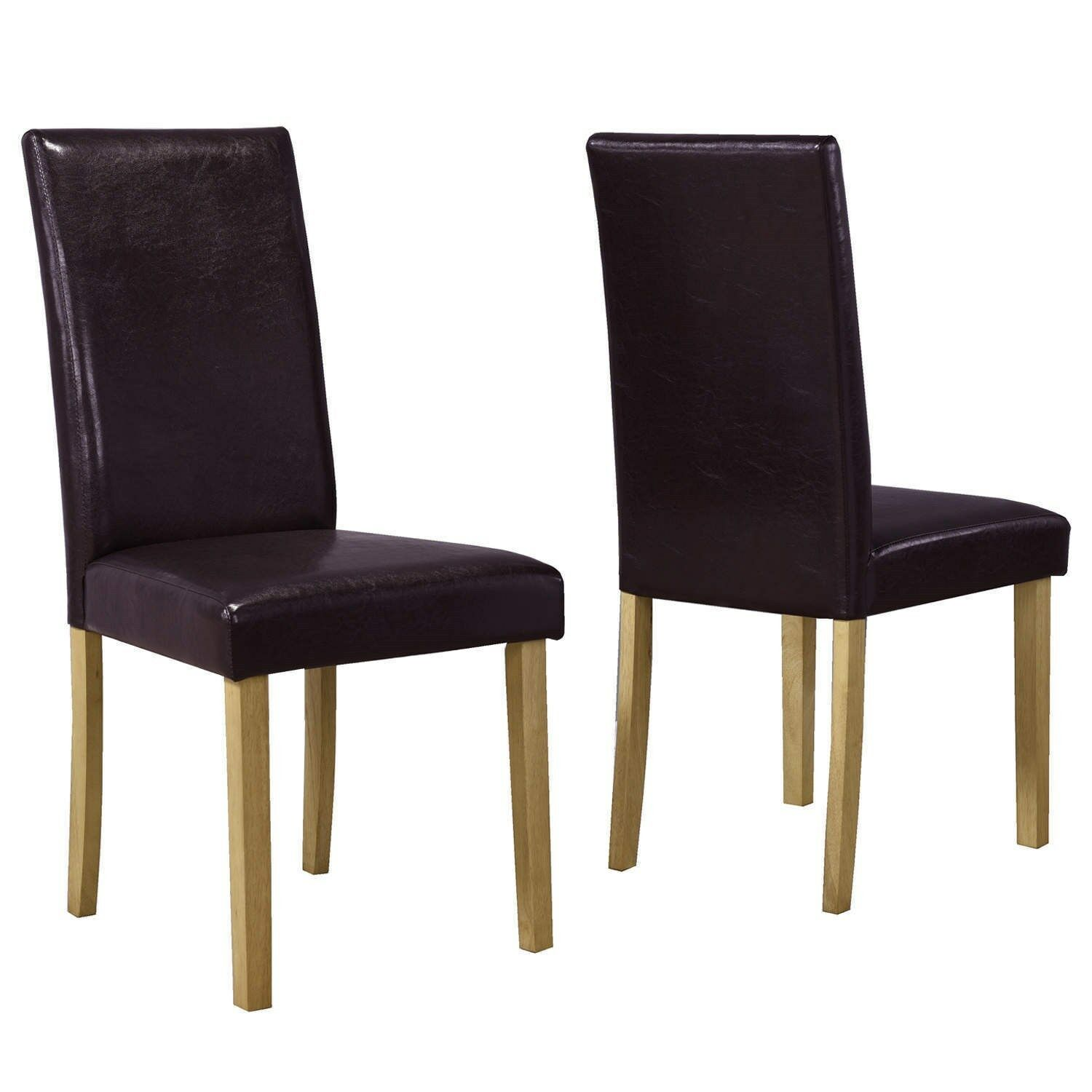 Pair of brown faux leather dining chairs solid oak 59 for Brown leather dining chairs