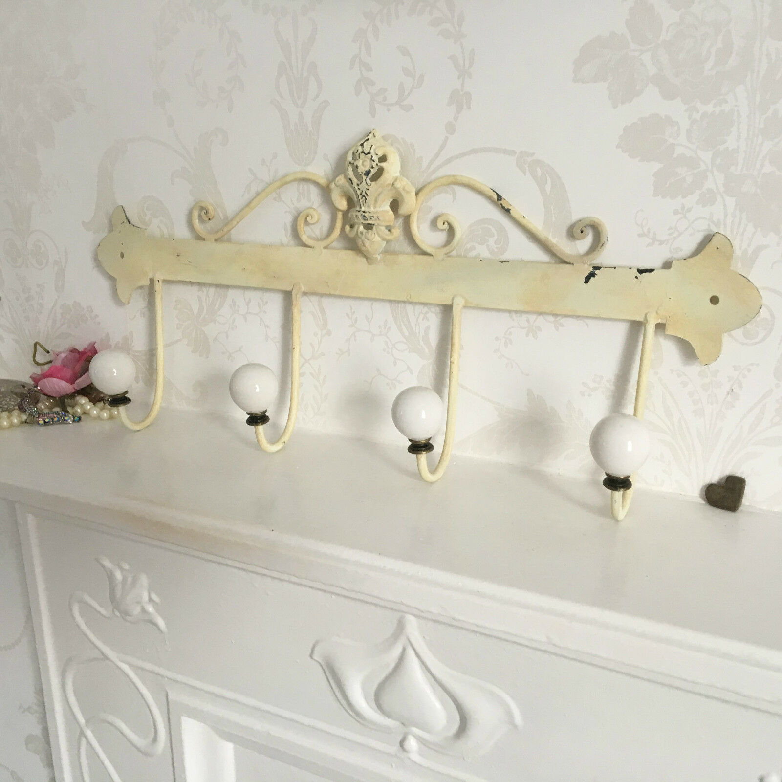 French Vintage Style 4 Ceramic Hooks Metal Coat Rack