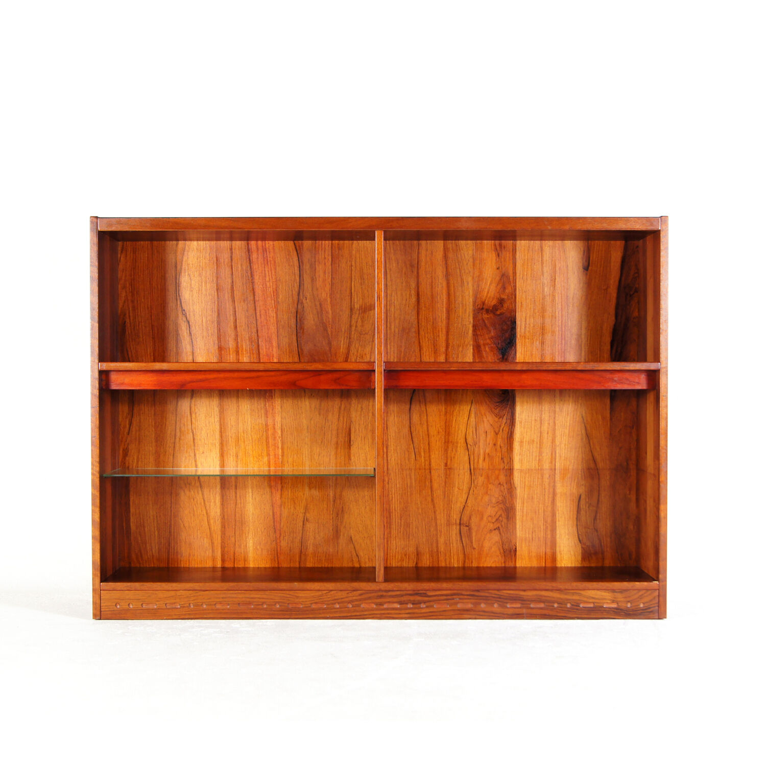 Retro Vintage Danish Rosewood Glass Display Cabinet Bookcase Book Shelves 1970s