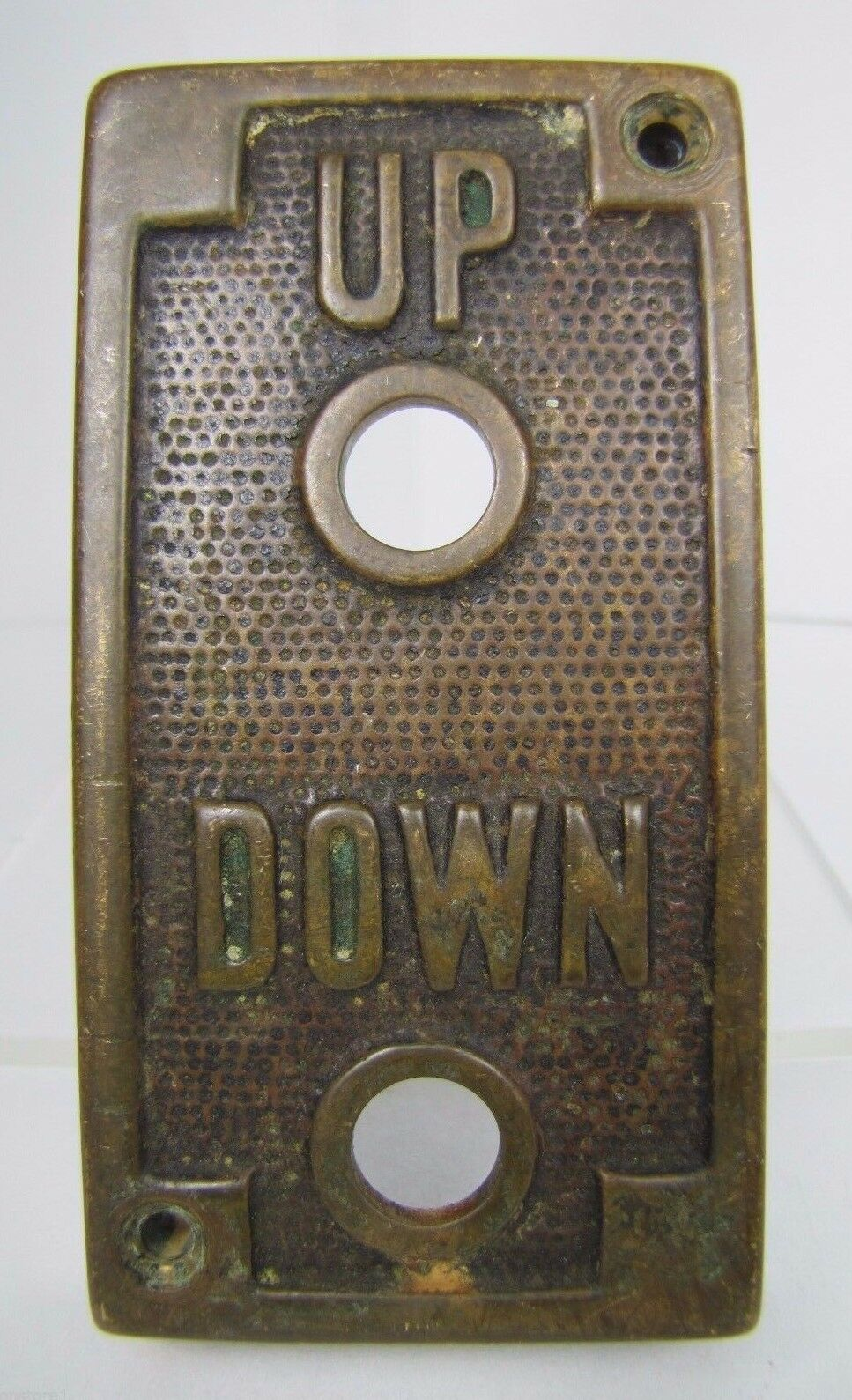 Antique Elevator Panel Up Down Bronze Brass 2 Button Holes ornate orig embossed