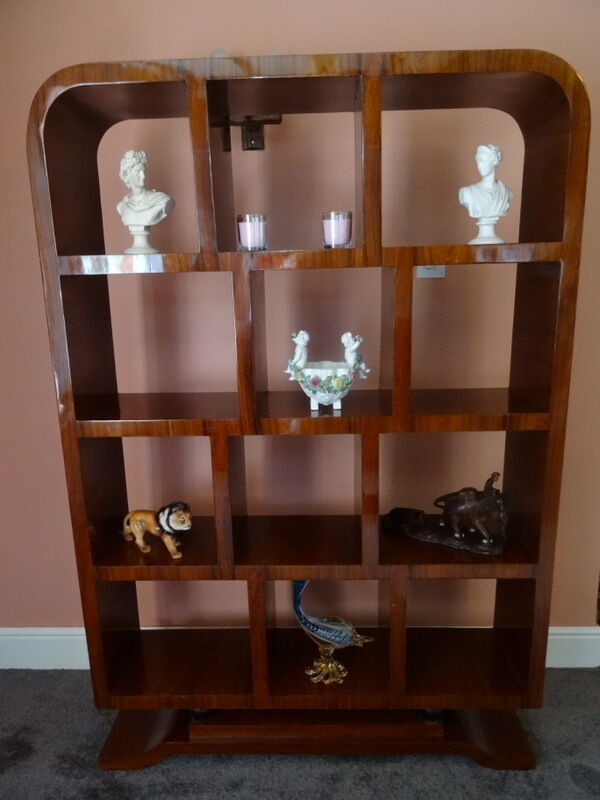 Large French Art Deco Style Reproduction Curved Walnut Library Study Bookcase