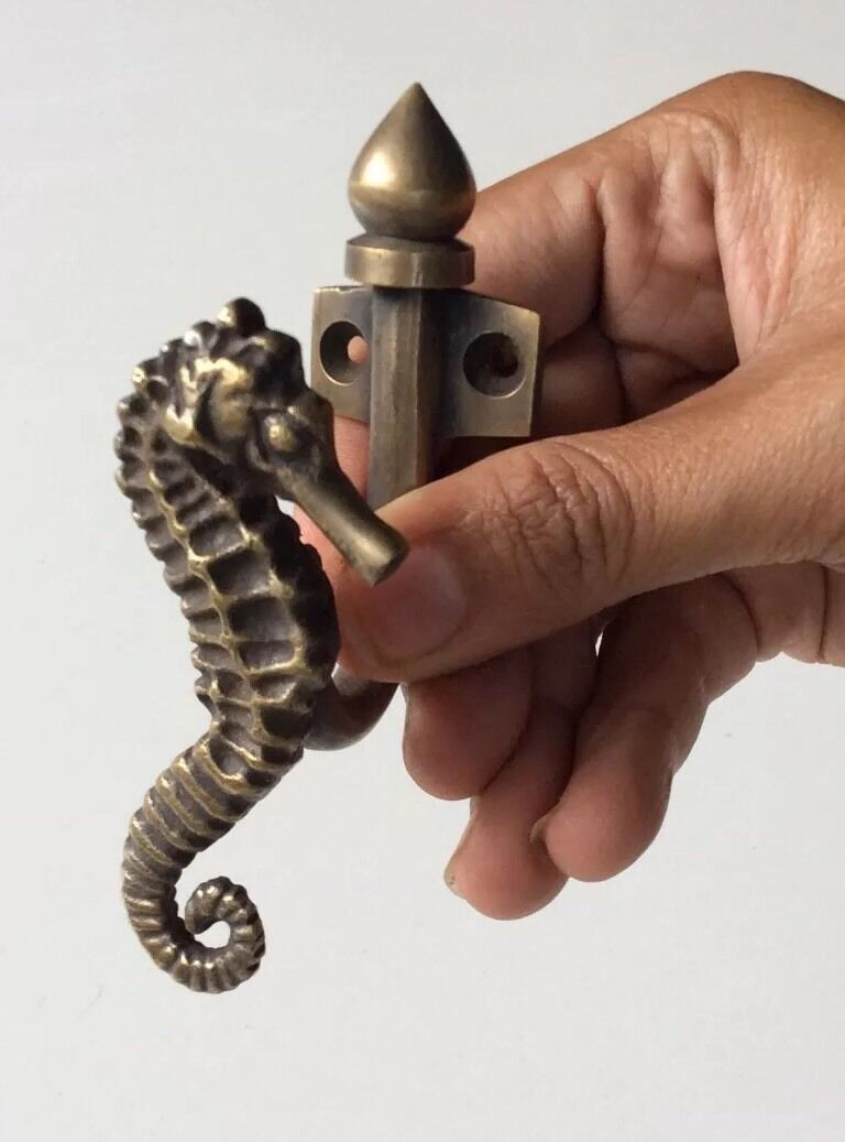 Pure Bronze Sea Horse Cabinet Door Handle or Hook