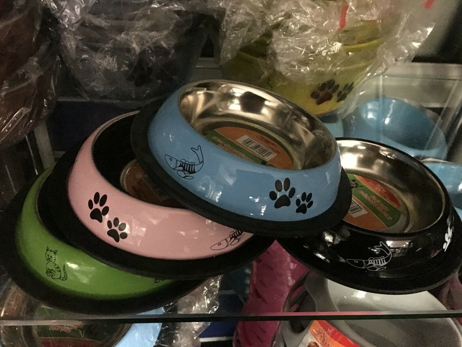shallow stainless steel coloured pet cat dog puppy bowl  15cm x 3cm assorted