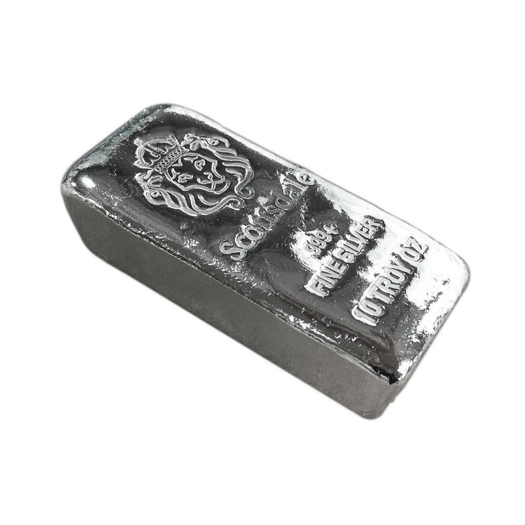 10 Oz 999 Silver Bar By Scottsdale Mint Loaf Pour Chunky A396 Scootsdale The One 1oz 1 Of 9free Shipping