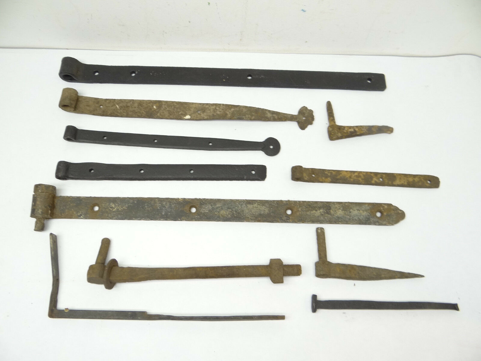 Antique Lot Old Used Metal Wrought Iron Barn Door Hardware Hinges Straps Parts