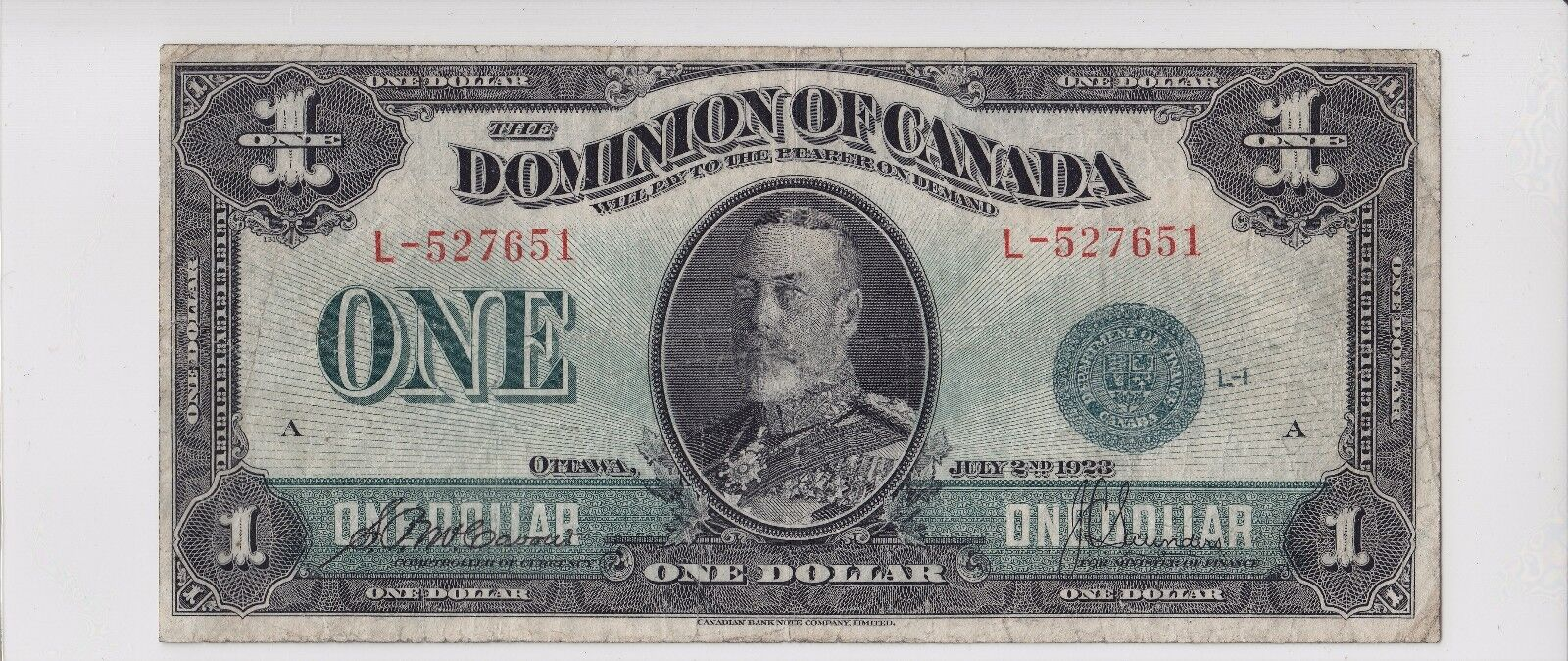 1923 Dominion of Canada $1 Large Sized Bank Note DC25-d L-527651