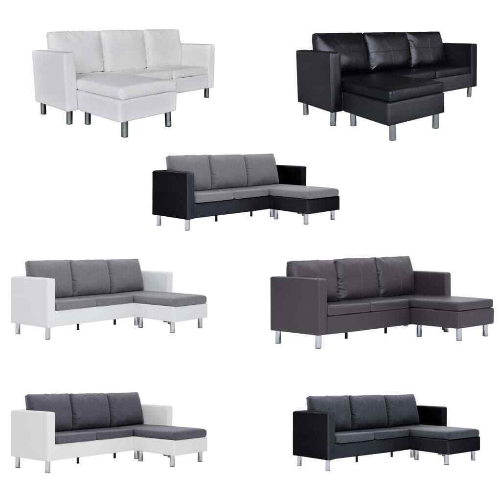canap d 39 angle 3 places modulable en cuir artificiel noir blanc canap de salon eur 228 99. Black Bedroom Furniture Sets. Home Design Ideas