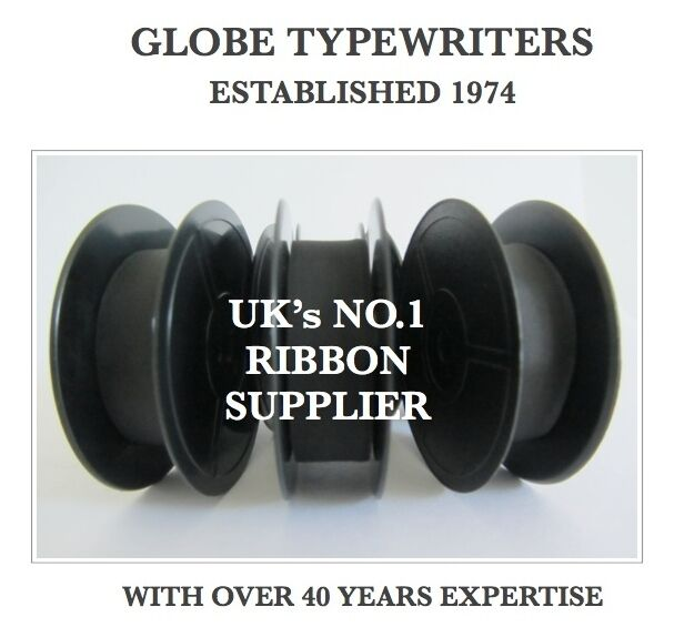 3 x 'DELUXE 850TR' *BLACK* TOP QUALITY *10 METRE* TYPEWRITER RIBBONS +*EYELETS*