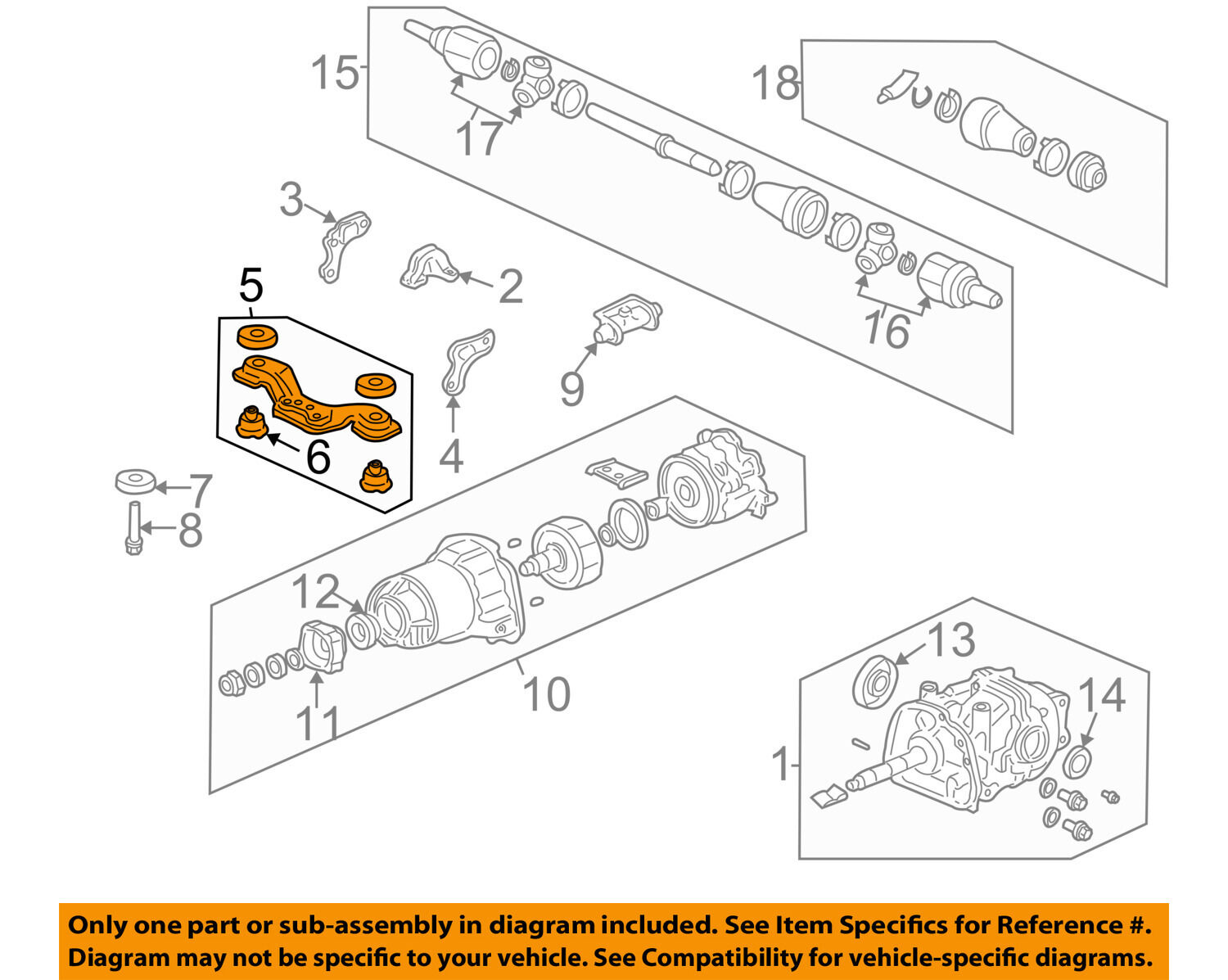 Honda Oem 02 06 Cr V Differential Rear Suspension Mount Assembly 2003 Front Diagram 50710s9aa01 1 Of 2only Available