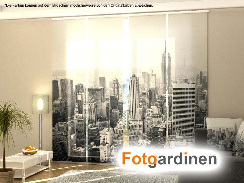 fotogardinen newyork fl chenvorhang schiebegardinen mit. Black Bedroom Furniture Sets. Home Design Ideas