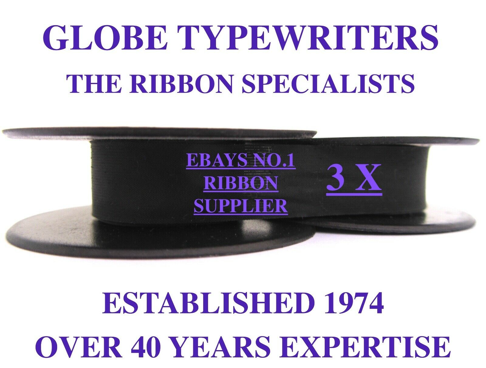 3 x 'ADLER UNIVERSAL 20' *PURPLE* TOP QUALITY *10 METRE* TYPEWRITER RIBBONS