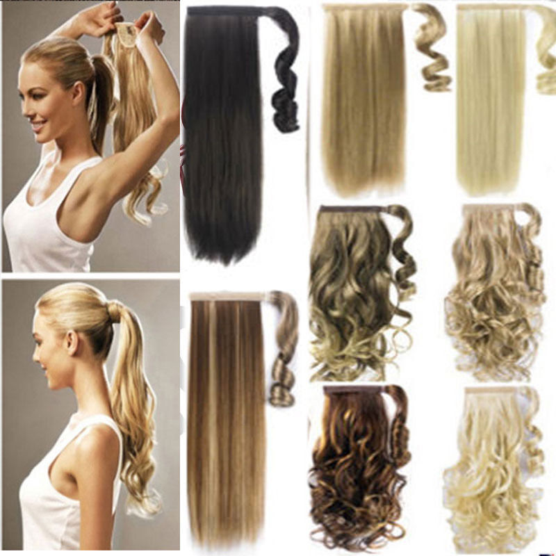 Uk Mega Thick Clip In Ponytail Hair Extensions Straight Curly Wrap