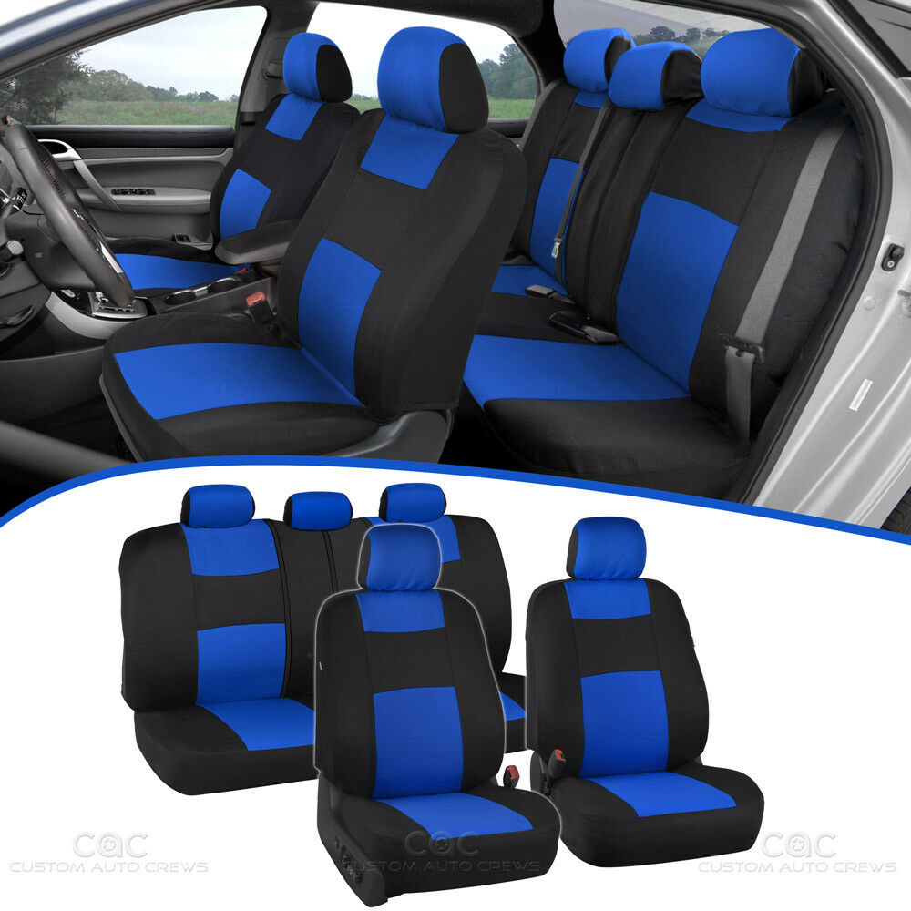 Car Seat Covers For Auto Blue Black 5 Head Rest Split Bench Air Bag Safe 1 Of 9FREE Shipping