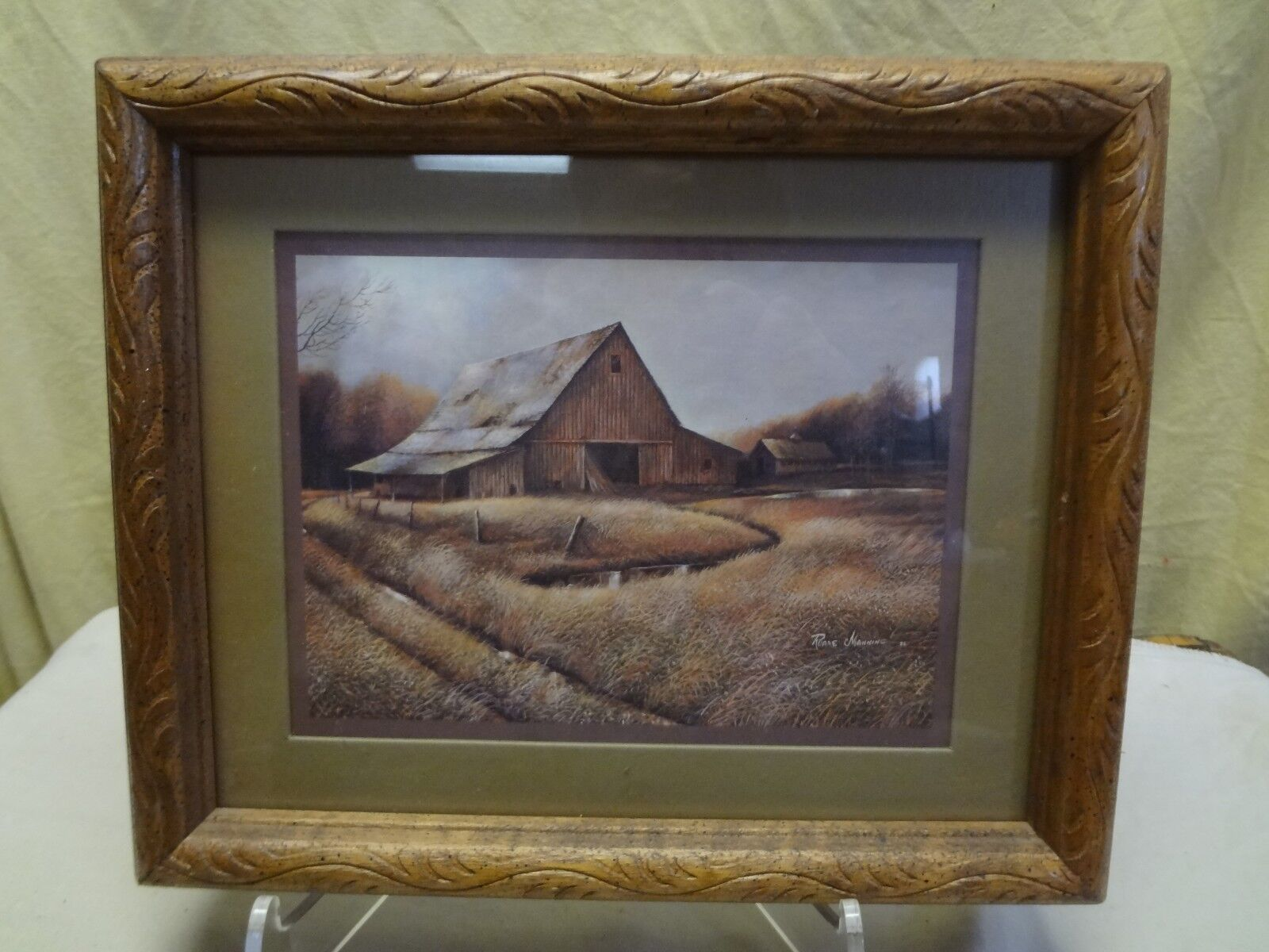 retired home interiors 1982 rustic barn print signed