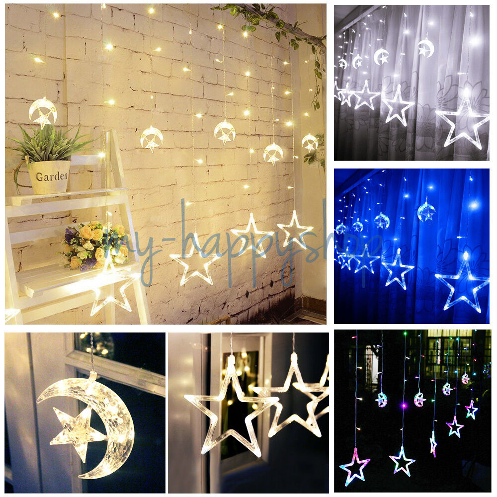 For Christmas Wedding Window Wall Decorations LED Fairy String Curtain Lights UK ?11.95 ...