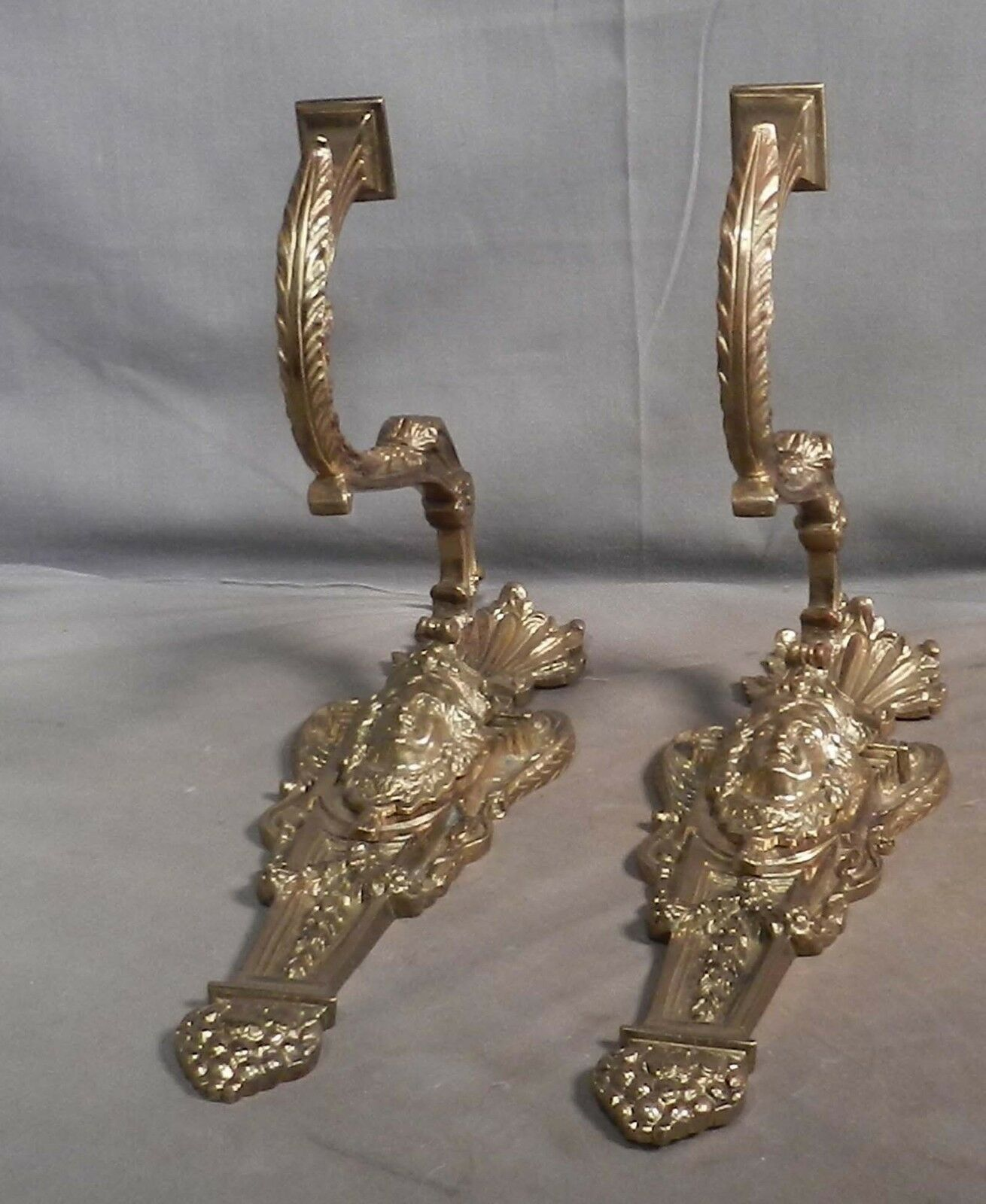 Ornate Brass Bronze 19th c. French Wall Sconce Light MASKS Baroque Shell Empire
