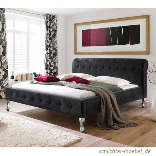 barock velour polsterbett kunstlederbett designerbett bett 180x200 cm schwarz eur 499 00. Black Bedroom Furniture Sets. Home Design Ideas