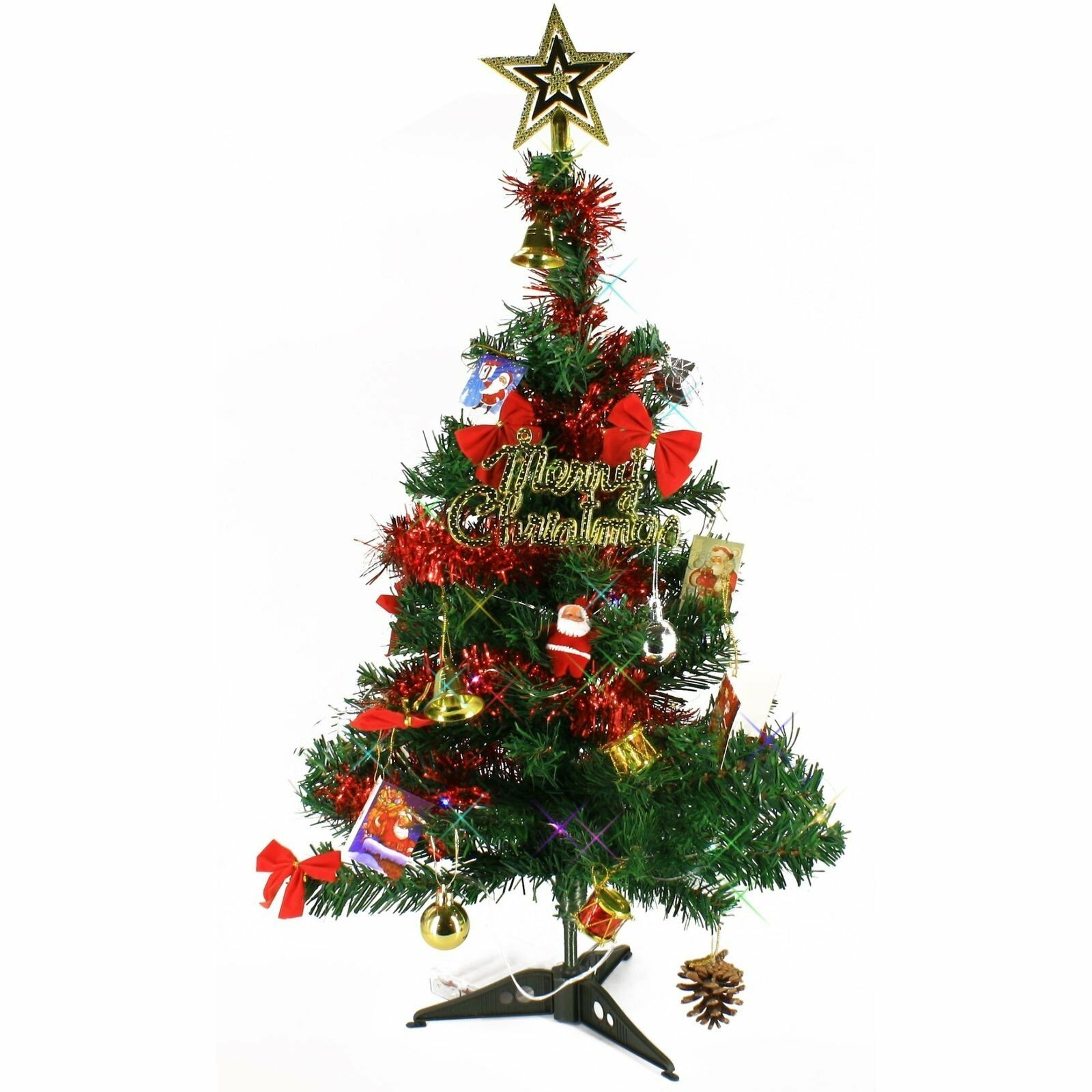 2 FT Artificial Mini Tabletop Christmas Tree Green with Multi Color ...