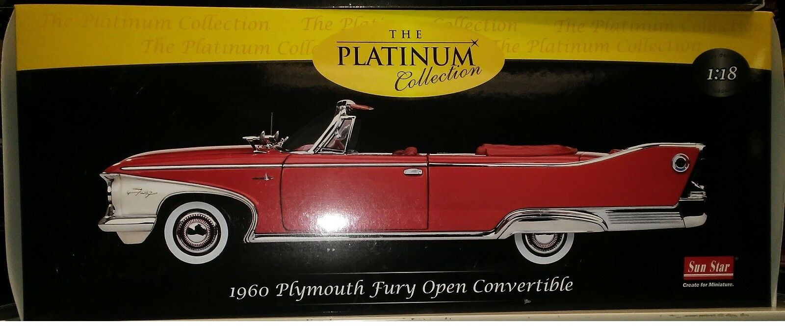 1960 Plymouth Fury Convertible Diecast 10 Inch Sunstar 118 Platinum 1 Of 1only 3 Available