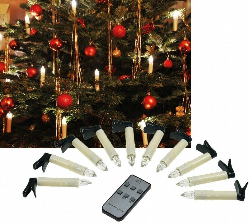christbaumkerzen led lichter kabellos fernbedienung weihnachtsbaum 10 st ck eur 18 77. Black Bedroom Furniture Sets. Home Design Ideas