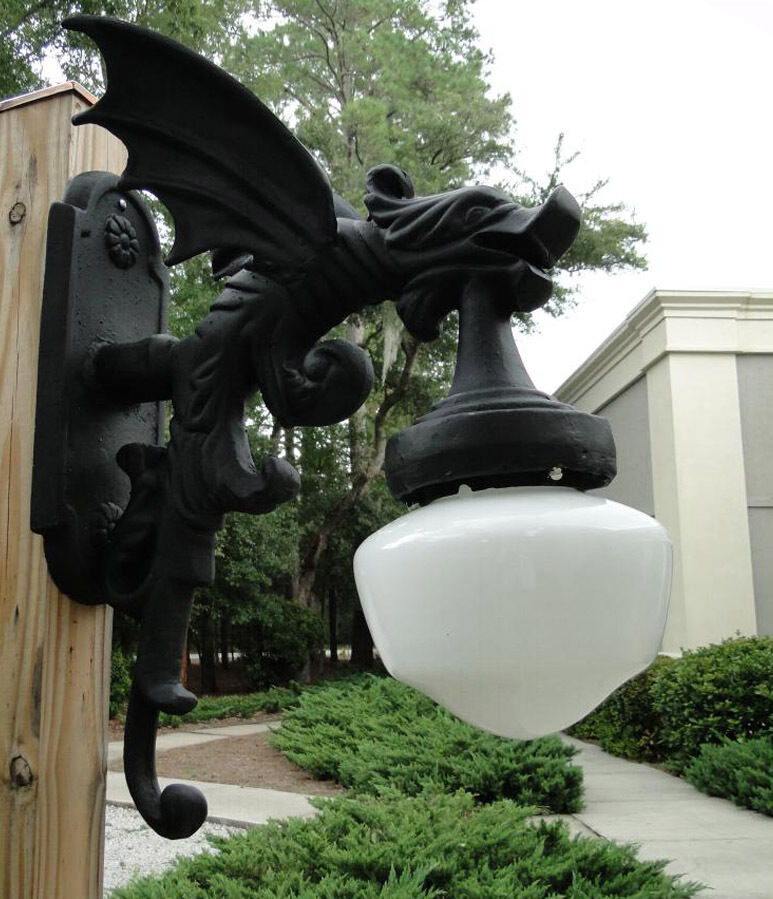 Outdoor Wall Light Sconce Fixture antique style GARGOYLE DRAGON Wings