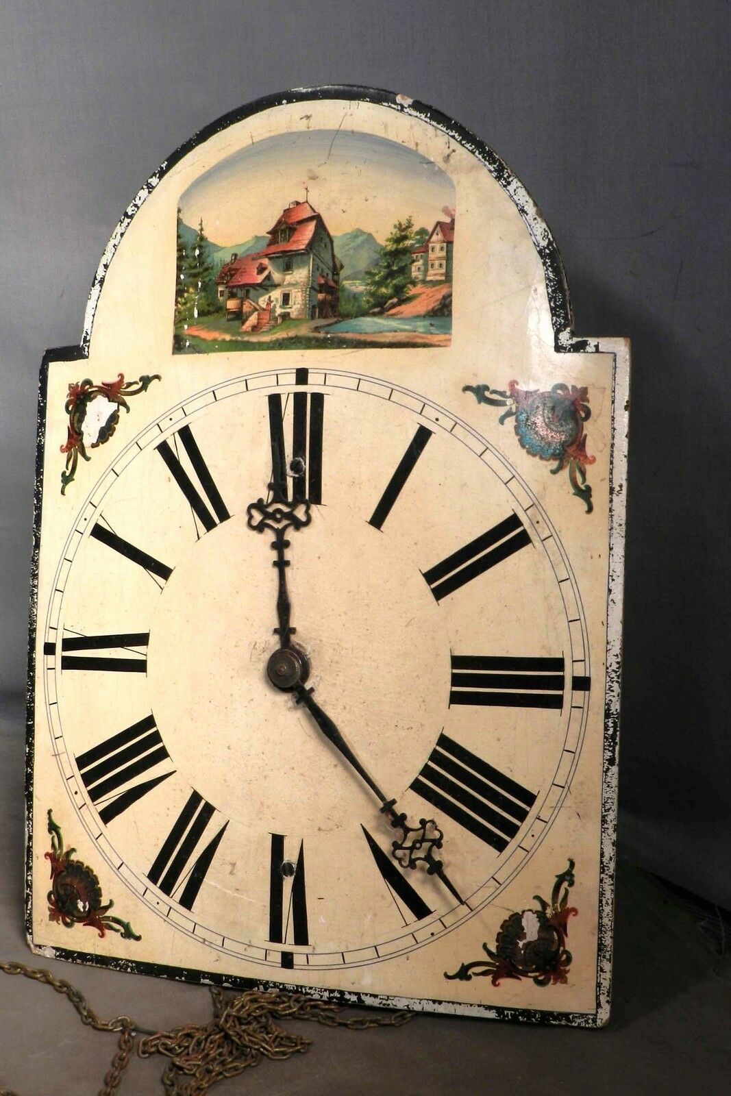 Antique Black Forest Clock Wag on Wall Grandfather Germany Wood Works Paint Dial