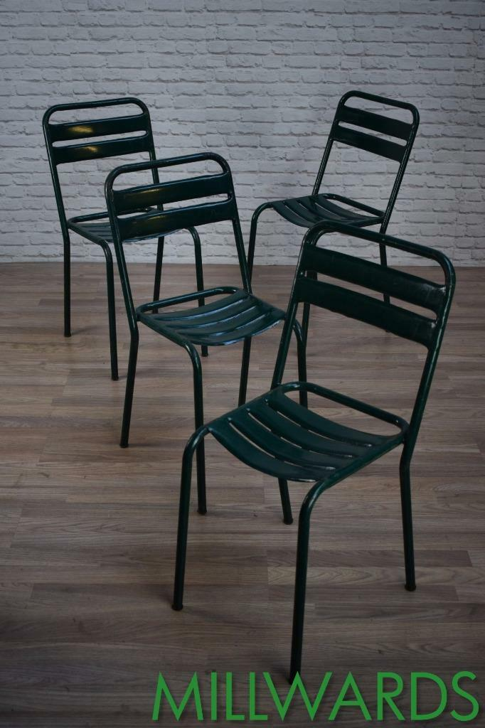 Vintage Industrial French Metal Stacking Garden Cafe Bar Chairs 14 AVAILABLE