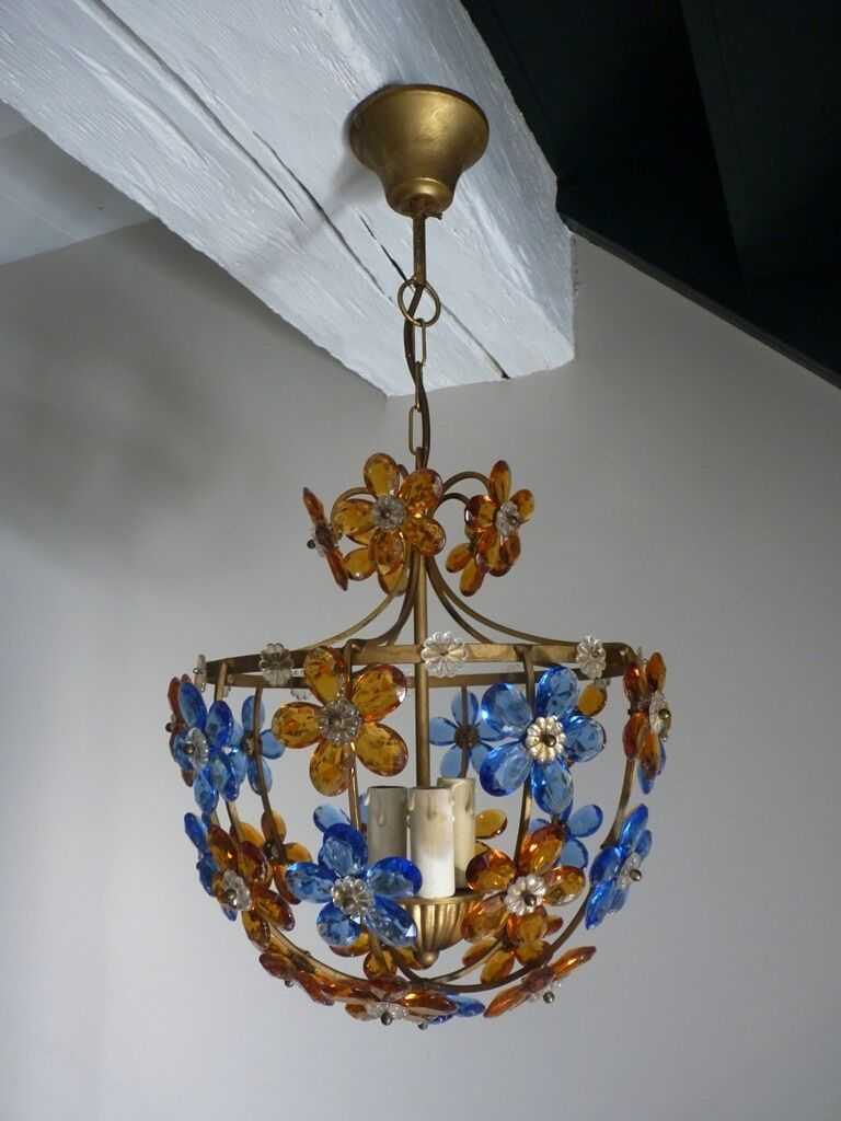Vintage French Brass And Glass Flowers Ceiling Chandelier 3 Lights Prisms