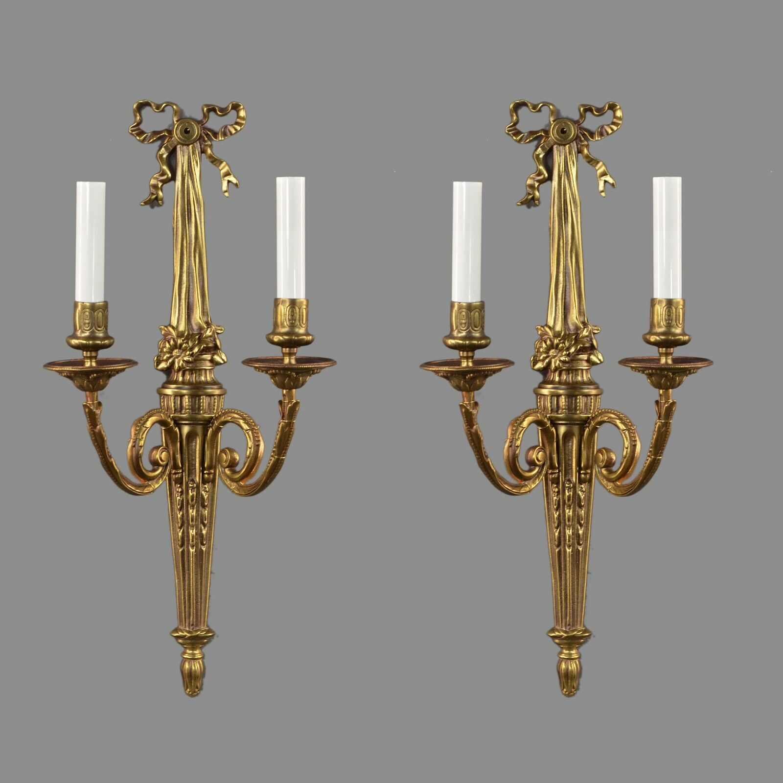 Italian Brass Regency French Style Sconces c1950 Vintage Antique Gold Ornate