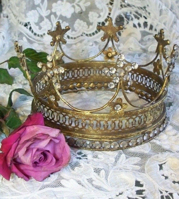 Santos Crown 7 Stars&Flower Patina Brass w/Rhinestones Replica1800 Vintage Decor