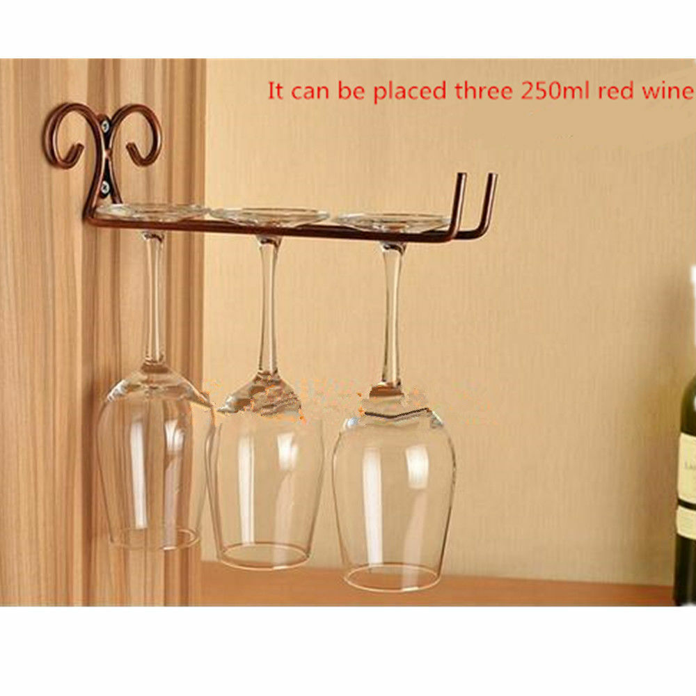 Retro Red Wine Glass Rack Holder Mug Hanging Hanger Iron Shelf Organizer