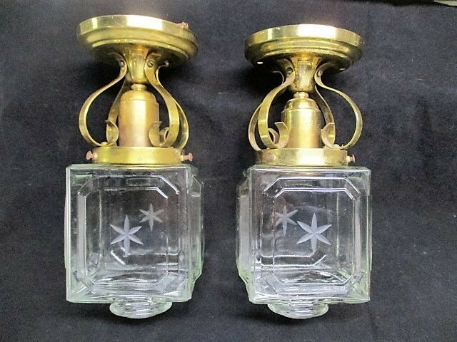Pair 2 Vtg Art Deco Ceiling Lights- Brass Fixtures - Square Etched Glass Shades