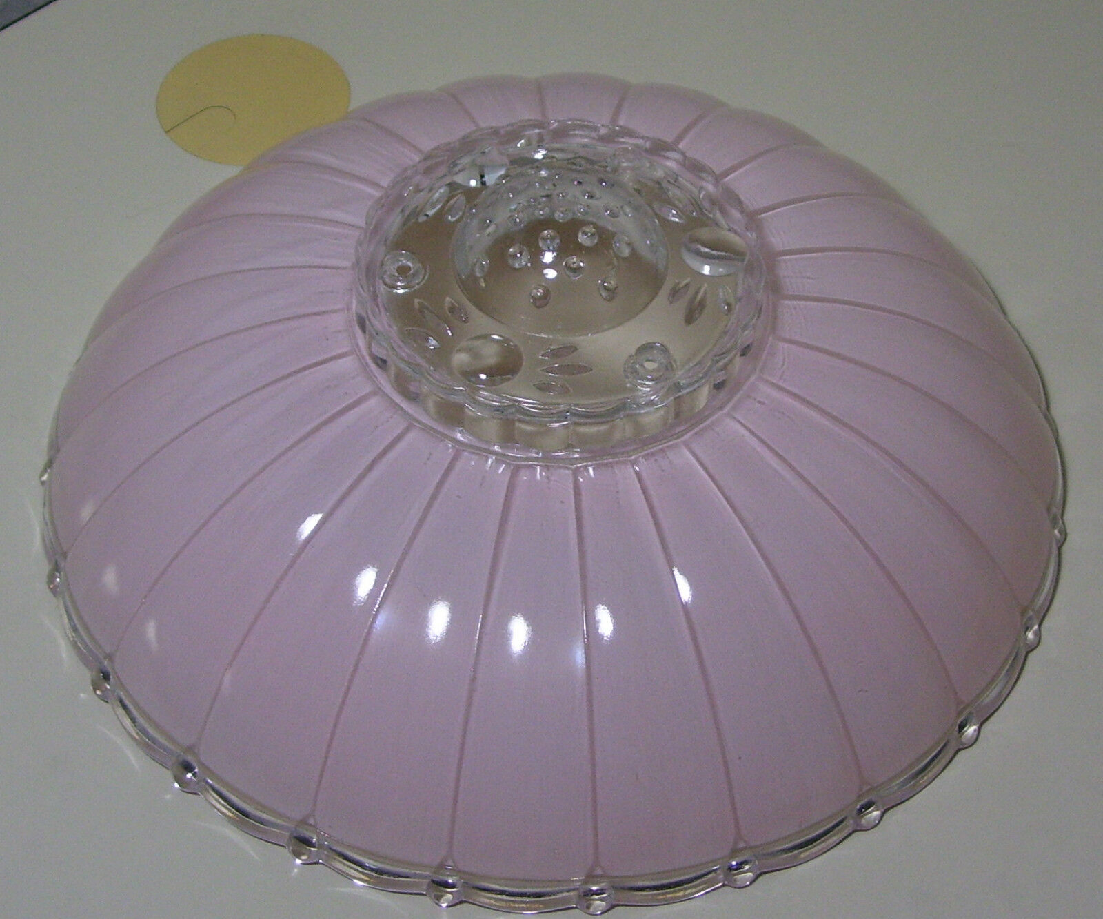 """Vintage 11.5"""" Mid Century Modern Pink Frosted Glass Ceiling Light Fixture Shade"""