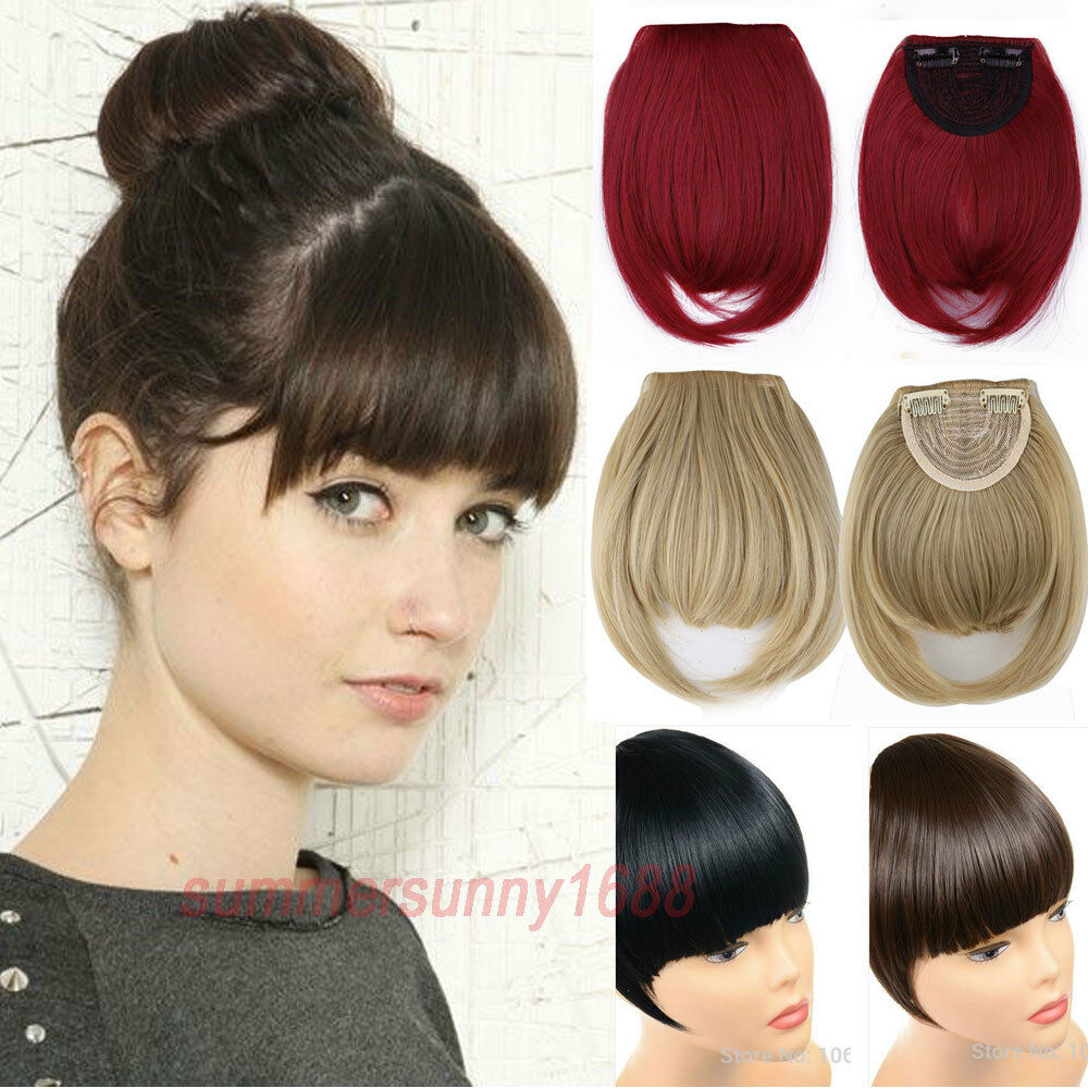 100 Natural Hair Extension Clip In Front Hair Bangs Neat Fringe For