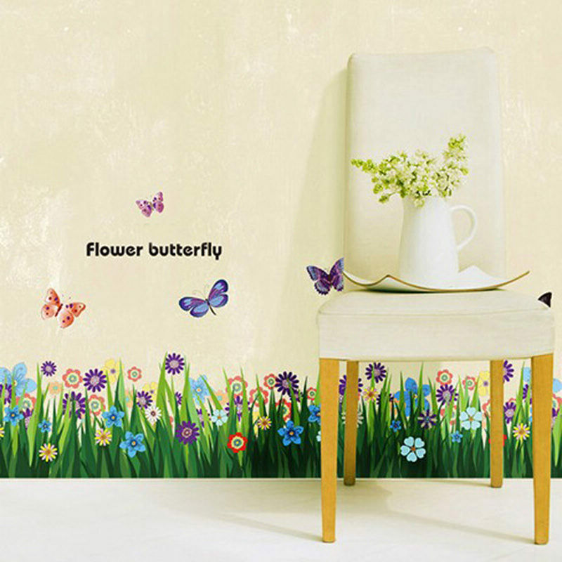 Diy flower grass butterfly wall stickers mural decal for Butterfly wall mural