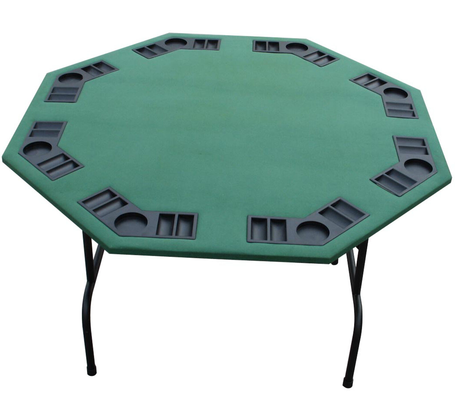 52 octagon green felt card game poker table folding steel for Table 52 cards 2014