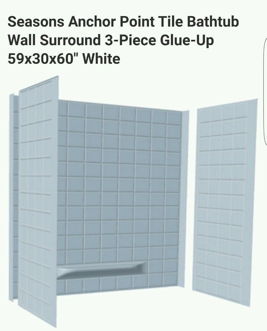 TUB SURROUND 3 Piece Tiled Bath Tub Shower Wall Enclosure White ...