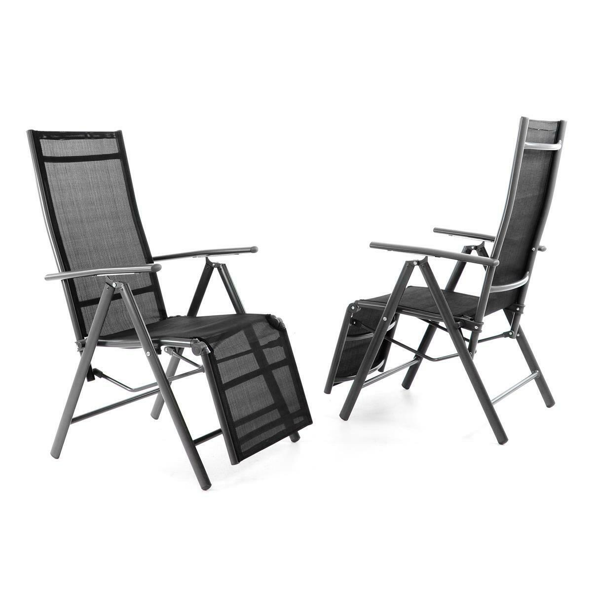 2er set alu liegestuhl klappstuhl schwarz mit fu st tze garten rahmen anthrazit eur 84 85. Black Bedroom Furniture Sets. Home Design Ideas