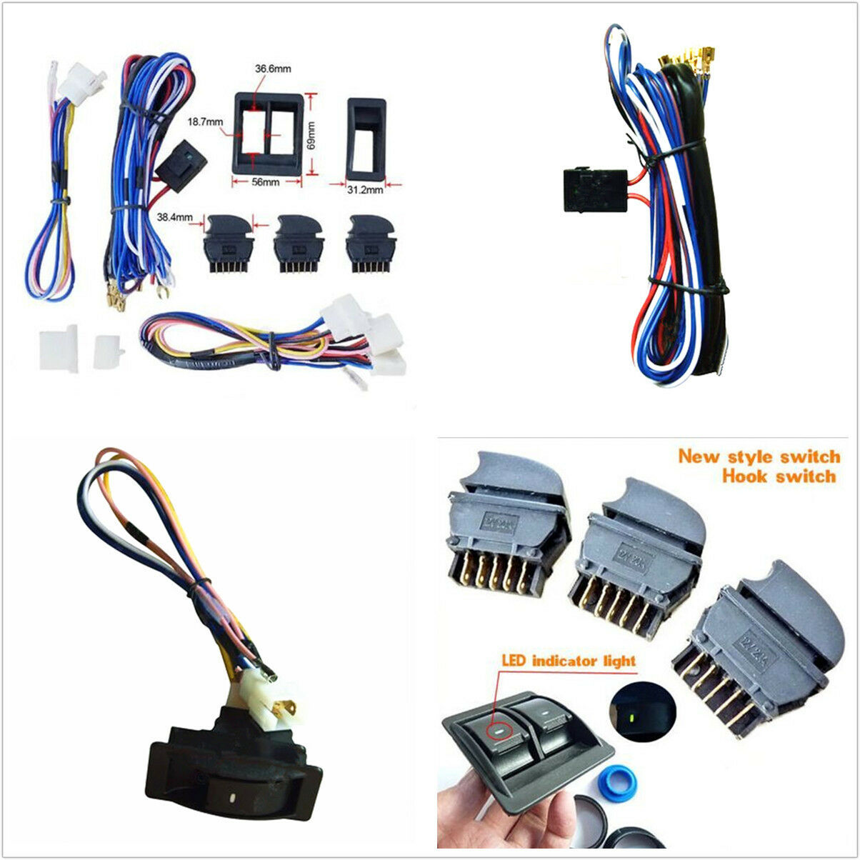 Top Quality Universal 12v Car Electric Power Window Switch With Wire Wiring Harness For Kit 1 Of 8free Shipping